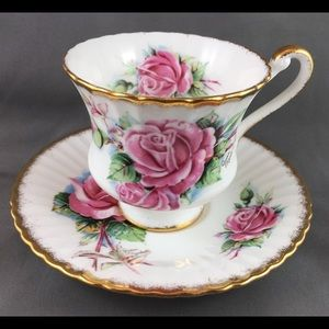 Paragon Pink Rose Teacup & Saucer Set 1950's
